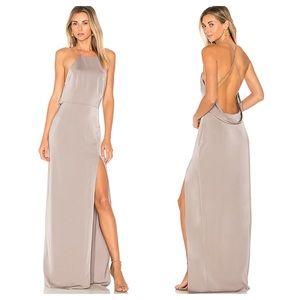 Lovers + Friends Sheila Grey Satin Gown